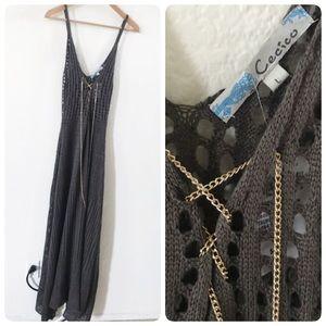 NWT Cecico crochet chain laceup maxi dress L